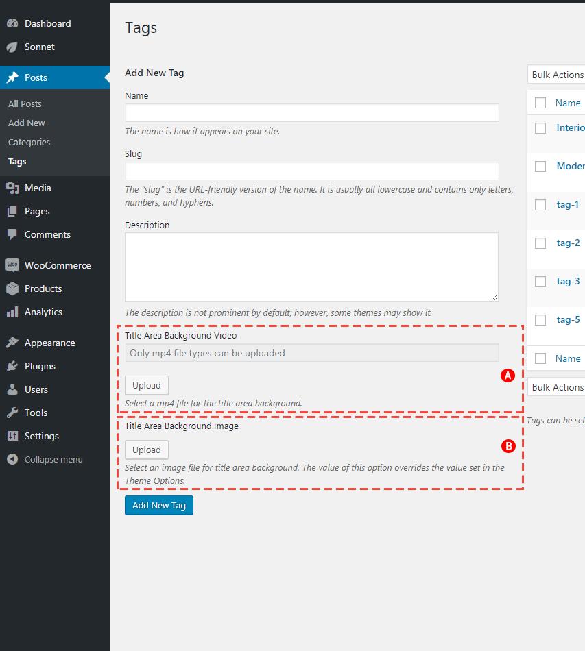 Custom Tag Title Area Background options Screenshot