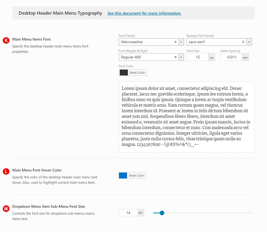 Desktop Header Main Menu Typography options Screenshot: Desktop header version 3