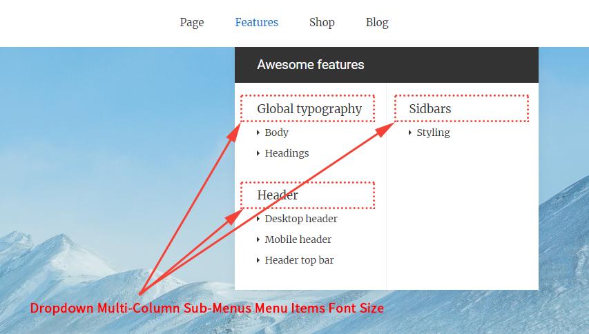 Dropdown Multi-Column Sub-Menus Menu Items Font Size With Hierarchical Depth Of 1