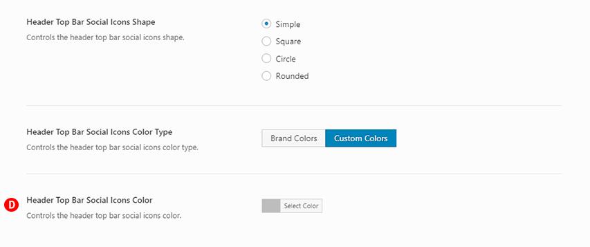 Fig. 2. Header Top Bar Social Icon Type: Simple & Header Top Bar Social Icons Color Type: Custom Colors