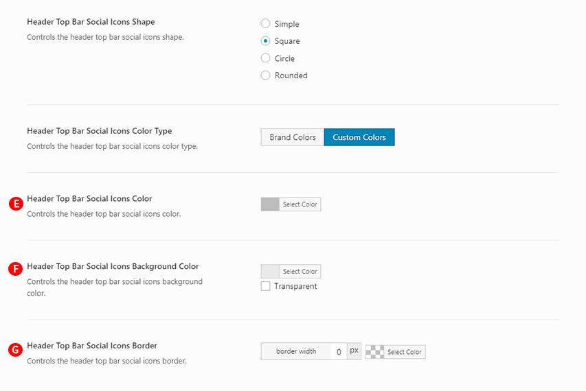 Header Top Bar Social Icon Type: Square & Header Top Bar Social Icons Color Type: Custom Colors