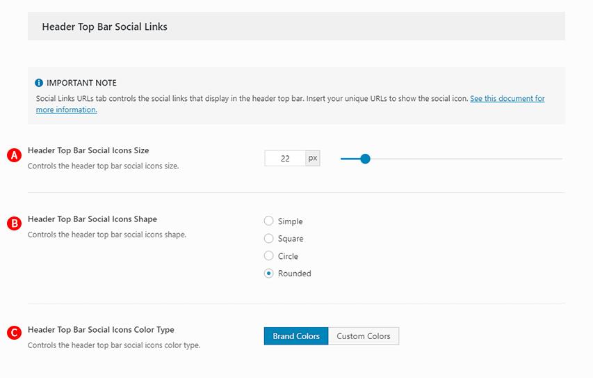 Fig. 1. Header Top Bar Social Links options Screenshot.