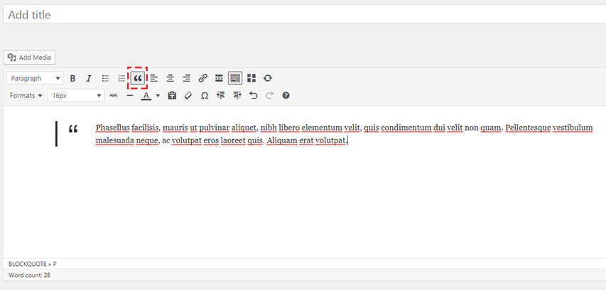Blockquote in WordPress Calssic Editor Screenshot