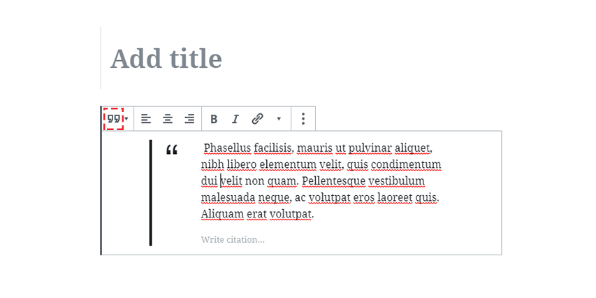 Blockquote in WordPress Gutenberg Editor Screenshot