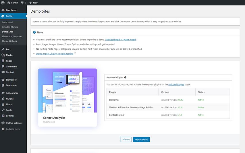 Demo Sites import interface Screenshot
