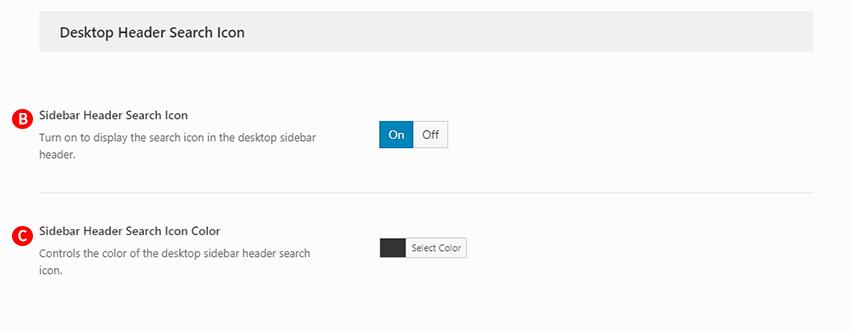Desktop Sidebar Header Search icon option option Screenshot.