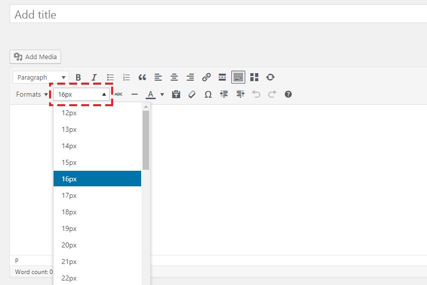Font Size by pixel in WordPress Calssic Editor Screenshot