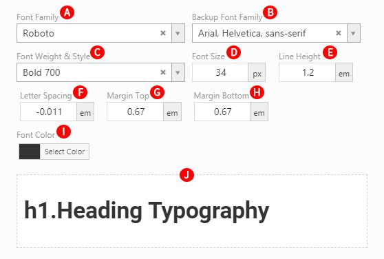 General Typography Options Screenshot.