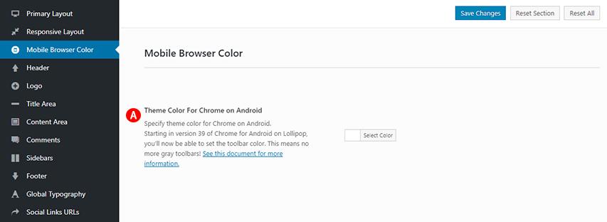 Mobile Browser Color option Screenshot.