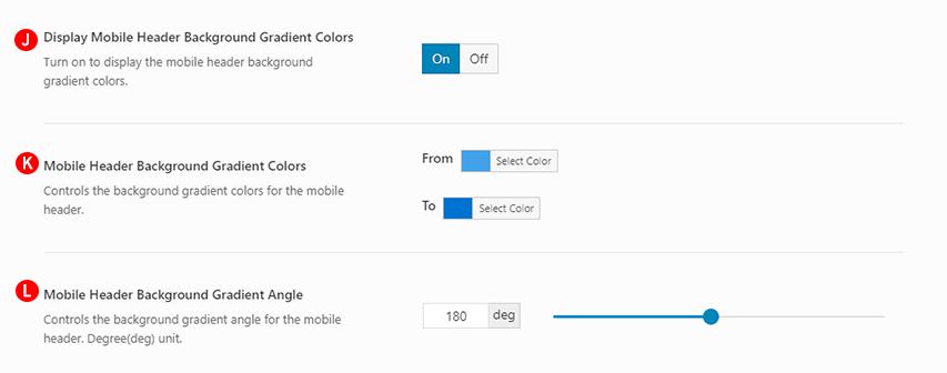 Mobile Header Background Gradient Colors options Screenshot