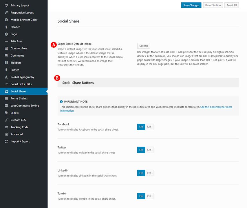 Social Share options Screenshot
