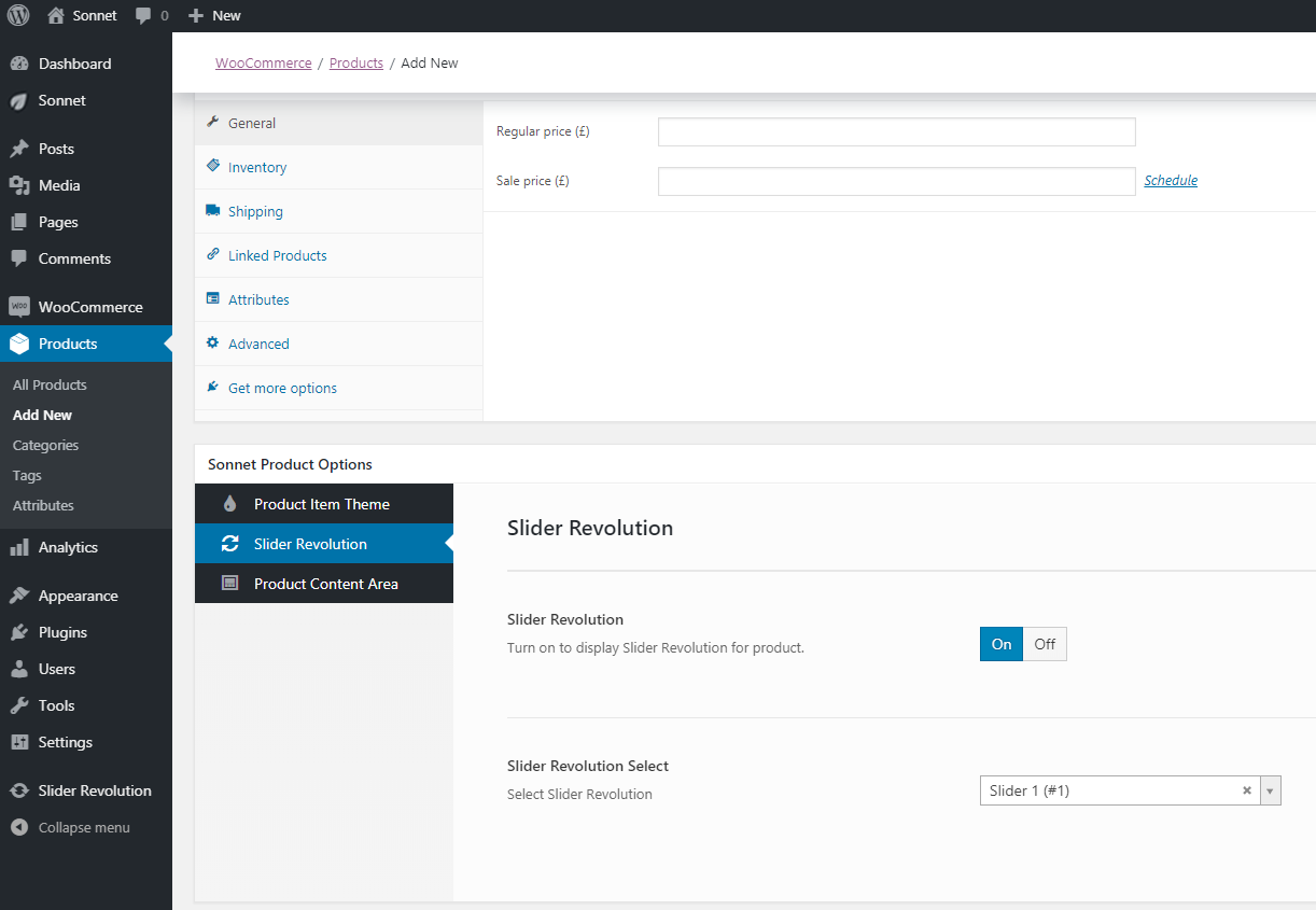 Sonnet Product Options Screenshot